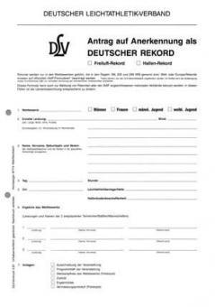 DLV-Vordruck - Rekordprotokoll