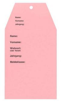 Startkarten für Volkslauf Rosa