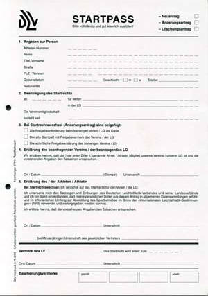 DLV-Vordruck - Startpass-Antrag